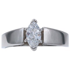 Marquise Diamond Solitaire Ring 0.36 Carat F VS Set in 14 Karat White Gold