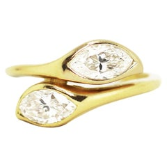 Marquise Diamond Two-Stone Twist 18 Carat Yellow Gold Ring