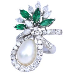 Mandarbet Marquise Diamonds Pearl Colombian Emeralds 18 Karat White Gold Ring