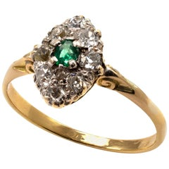 Marquise Emerald and Old Cut Diamonds Dress Ring 18 Karat Gold, circa 1930s