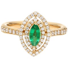 Marquise Emerald Diamond 18 Karat Yellow Gold Engagement Fashion Ring