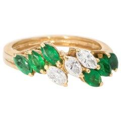 Marquise Emerald Diamond Band Ring Vintage 14 Karat Yellow Gold