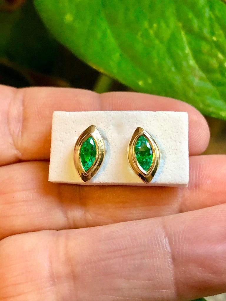 Contemporary Marquise Emerald Stud Earrings 18 Karat Yellow Gold For Sale