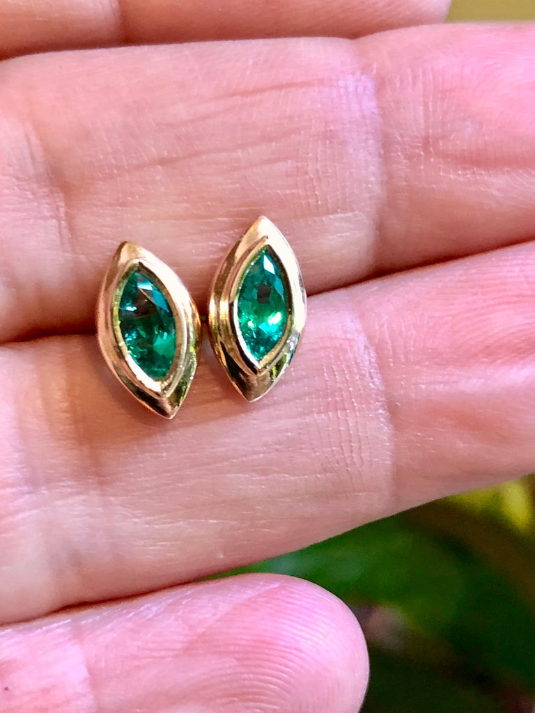 Marquise Cut Marquise Emerald Stud Earrings 18 Karat Yellow Gold For Sale