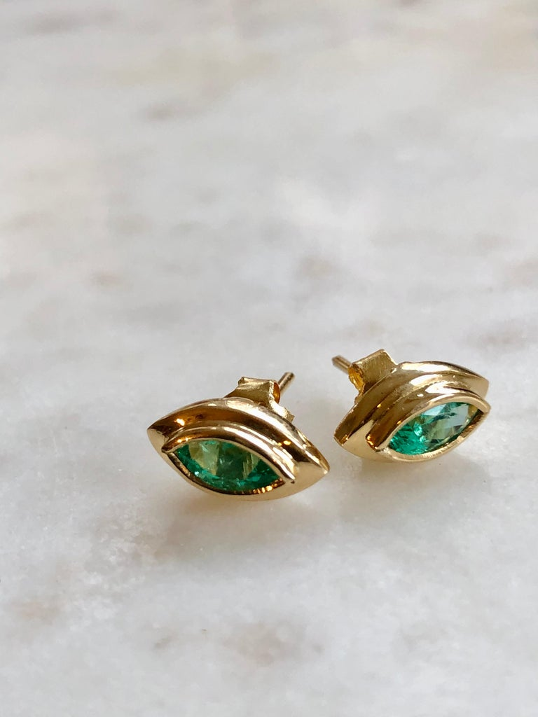 Marquise Emerald Stud Earrings 18 Karat Yellow Gold In New Condition For Sale In Brunswick, ME