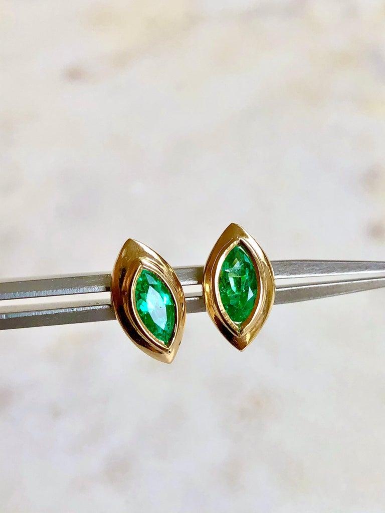 Women's Marquise Emerald Stud Earrings 18 Karat Yellow Gold For Sale