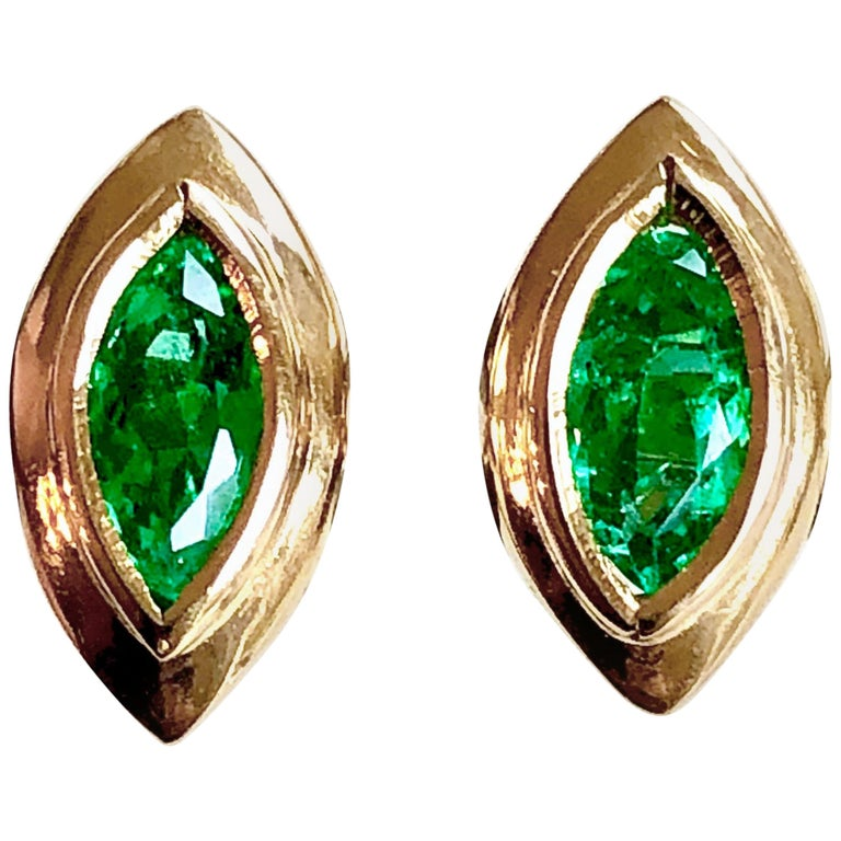 Marquise Emerald Stud Earrings 18 Karat Yellow Gold For Sale