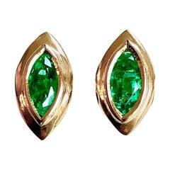 Marquise Emerald Stud Earrings 18 Karat Yellow Gold