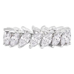 Marquise Eternity Ring in 18 Karat White Gold 3.48 Carat, IGI Certified