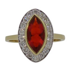 Marquise Fire Opal and Diamond Cluster Ring 18 Karat Yellow and White Gold