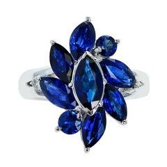 Marquise Flower Shape 3.88 Carat Blue Sapphire and 0.06 Diamond Ring, Platinum