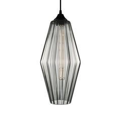 Marquise Grand Gray Optique Handblown Modern Glass Pendant Light, Made in the US