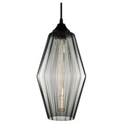 Marquise Gray Optique Handblown Modern Glass Pendant Light, Made in the USA