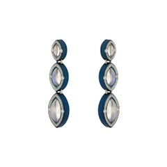 Marquise Moonstone Drop Earrings in Cobalt Blue Zirconium by Zoltan David