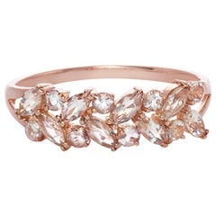 Marquise Morganite and Round Morganite Wedding Ring Band in 18K Rose Gold
