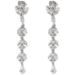 Marquise, Pear and Round Diamond Drop Earrings in Platinum '4.64 Carat'