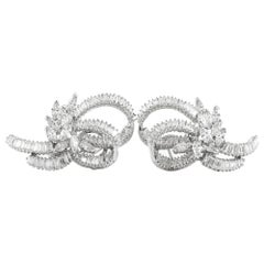 Marquise Round and Baguette on Platinum Setting Earrings