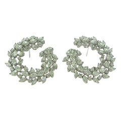 Marquise, Round, and Pear Diamond Large Circle Cocktail Earrings in White Gold