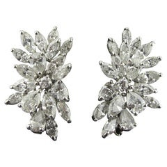 Marquise, Round and Pear Shaped Diamond Cluster Earrings