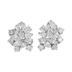 Marquise Round Pear Cluster Diamond Gold Clip Back Earrings