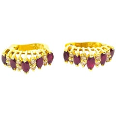 Marquise Ruby and Diamond, .85 Carat Huggie Earrings
