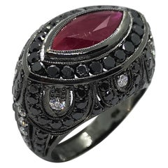 Marquise Ruby, Black Diamond with Diamond Ring Set in 18 Karat White Gold