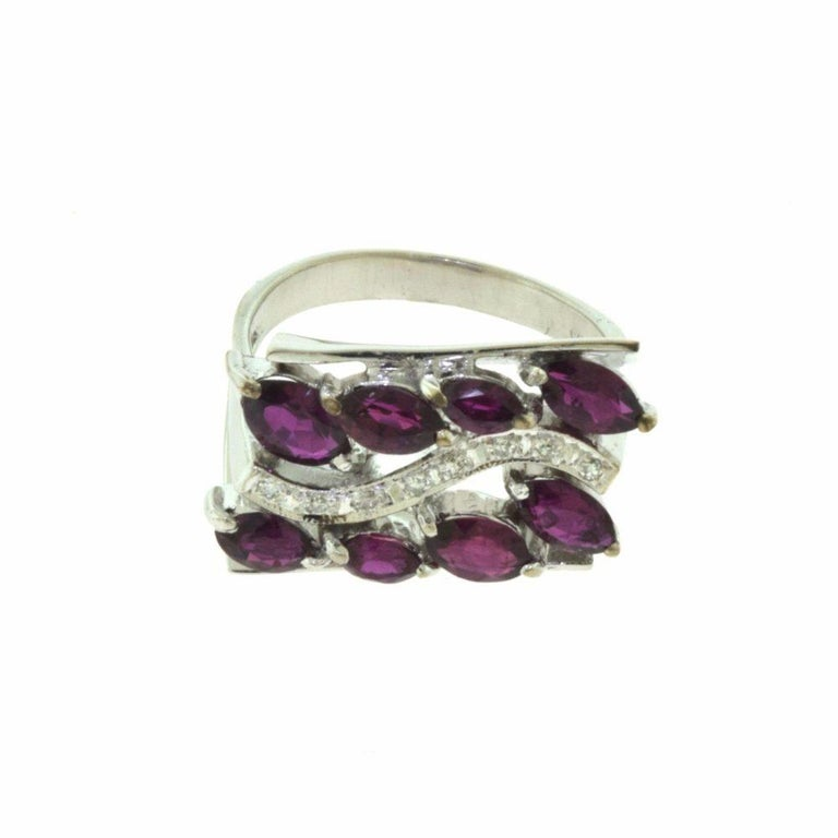 Women's or Men's Marquise Ruby, Diamond White Gold Wide Rectangular Ring For Sale