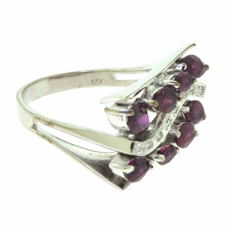 Marquise Ruby, Diamond White Gold Wide Rectangular Ring For Sale 1