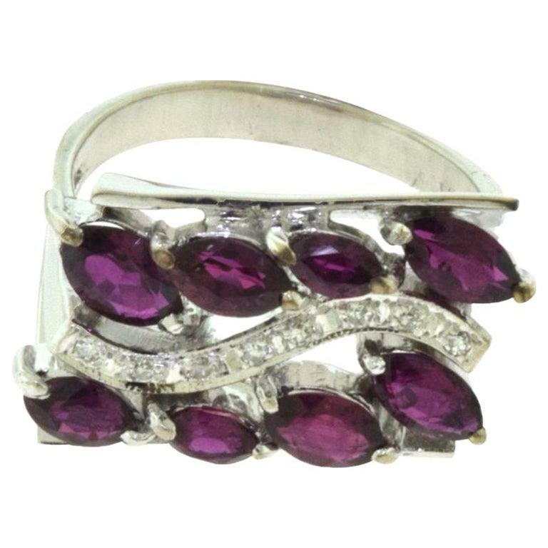 Marquise Ruby, Diamond White Gold Wide Rectangular Ring For Sale