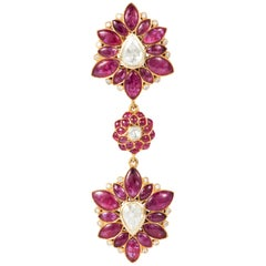 Marquise Ruby, Rose-Cut Diamond, 18 Karat Gold Pendant