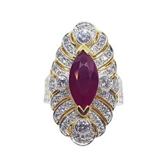 Marquise Ruby with Diamond Ring Set in 18 Karat Gold Settings