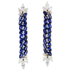 Marquise Sapphire and Diamond Hanging Earrings