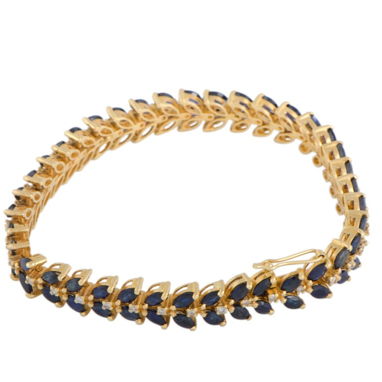 Marquise Sapphire and Diamond Yellow Gold Bracelet
