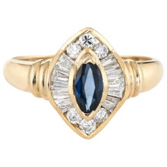 Marquise Sapphire Diamond Ring Vintage 14 Karat Yellow Gold Estate Fine Jewelry