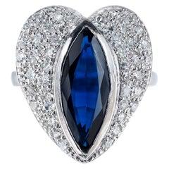 Marquise Sapphire Pave Diamond Platinum heart Ring