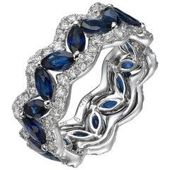 Marquise Sapphire Round Diamond 18 Karat White Gold Eternity Band Ring