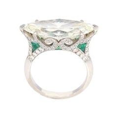Marquise Shape Diamond 8.15 Carat GIA Certified Emerald Ring, 1940