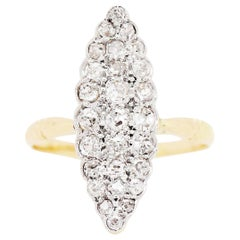 Marquise Shape Old Cut Diamond 18 Carat Gold Cluster Ring, circa 1900