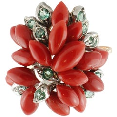 Marquise Shape Red Corals, Emeralds Rose Gold and Silver Cluster Ring