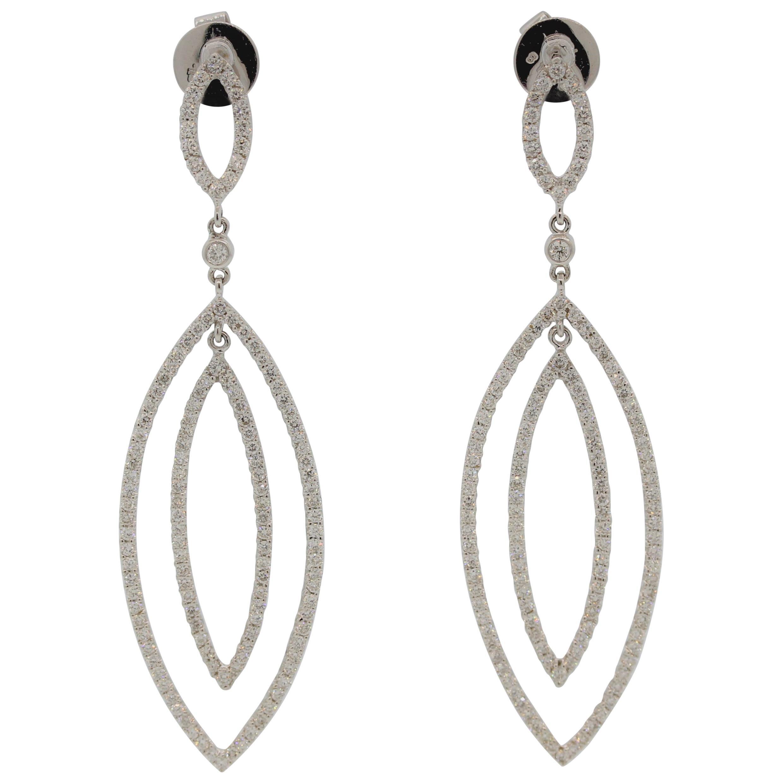 Marquise-Shaped Diamond Gold Drop Earrings