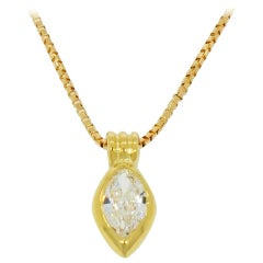 Marquise Shaped Diamond Yellow Gold Pendant