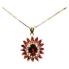 Marquise Sunflower Pendant Yellow Gold with Chain