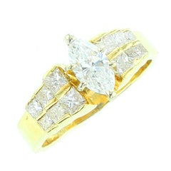 Marquise White Diamond Ring, Yellow Gold