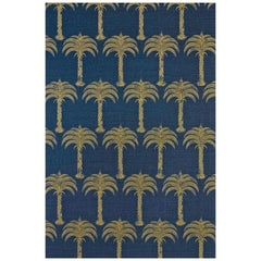 'Marrakech Palm' Contemporary, Traditional Fabric in Midnight Blue