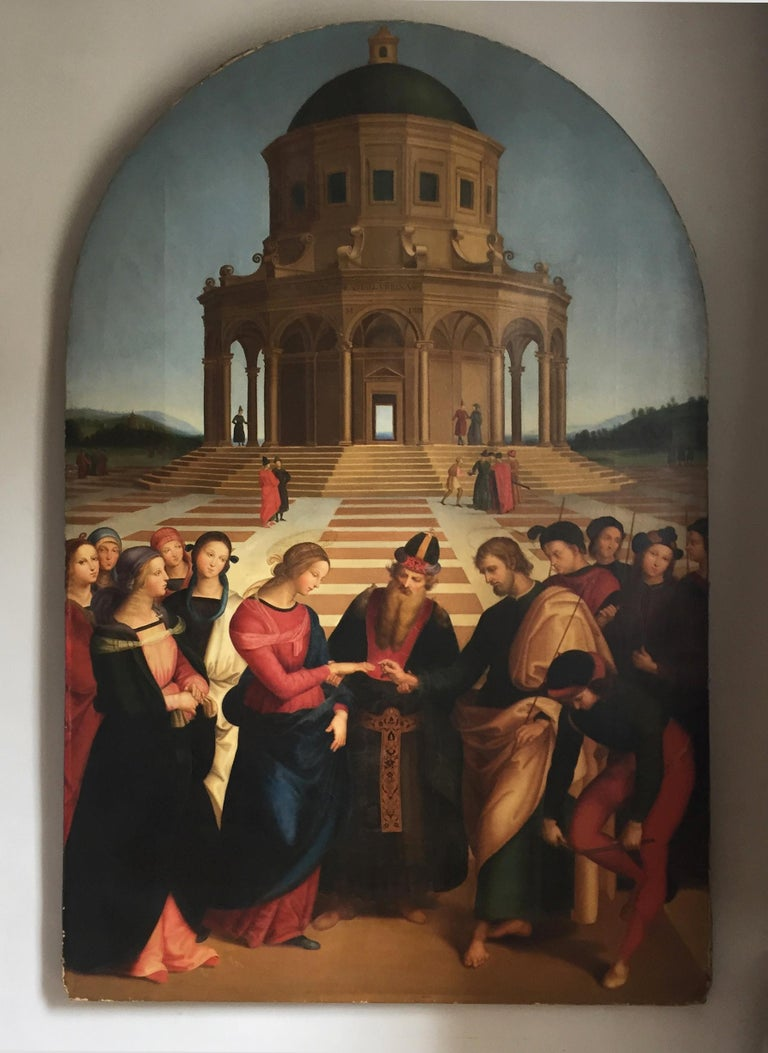 Please take particular note of the dimensions of this piece as it's a large and impressive scale.  A highly decorative oil on canvas copy of the Marriage of the Virgin after Raphael (1483-1520).  Believed to be 19th century or earlier, this