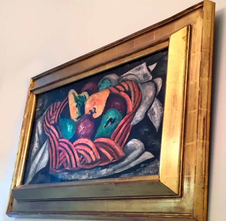 Basket with Fruit - Black Interior Painting by Marsden Hartley