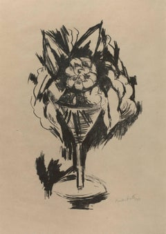 Lithograph from 1923 Marsden Hartley Berlin Print series - Flowers in Goblet #3