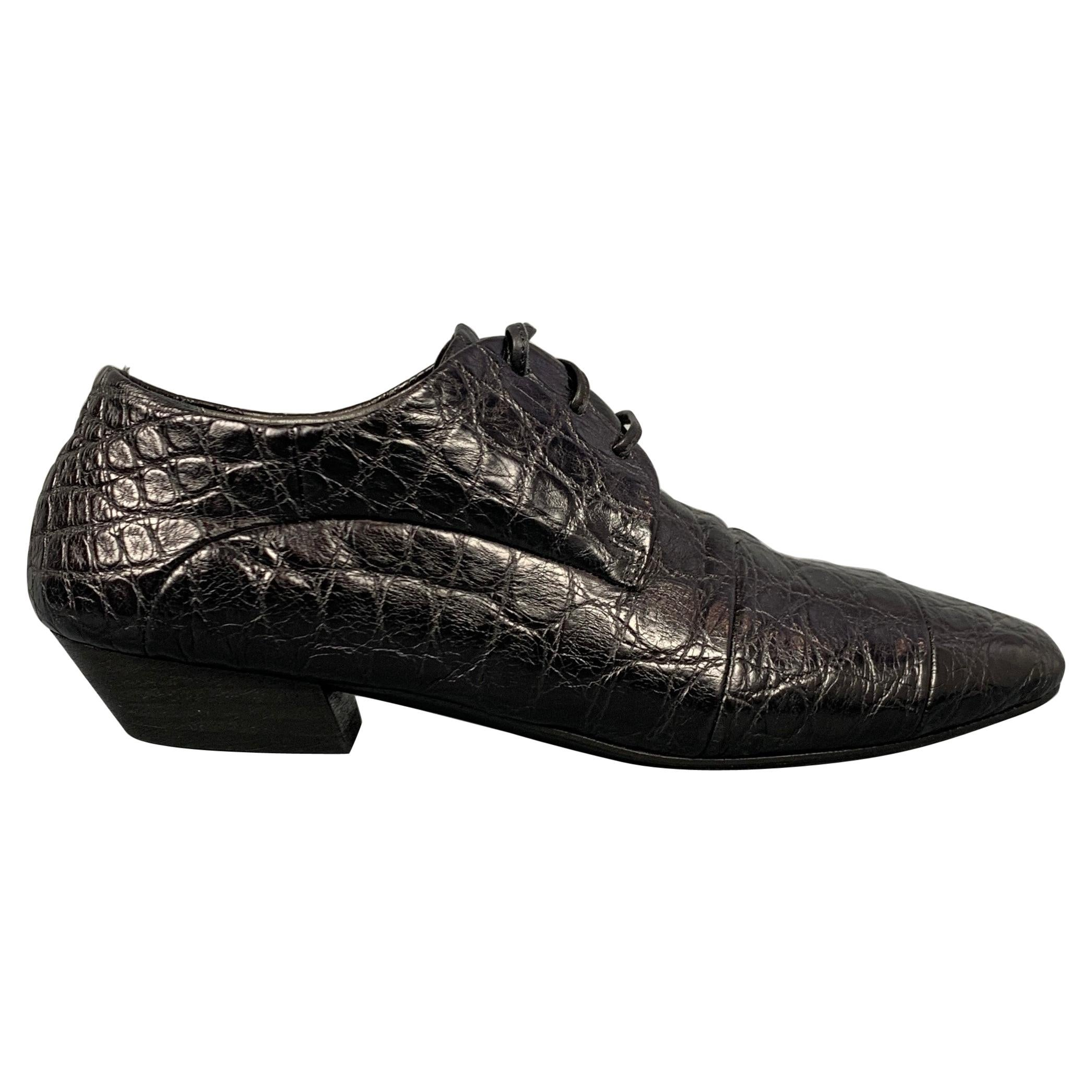 MARSELL Size 7 Black Embossed Leather Flat Laces