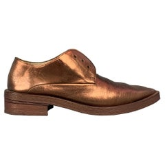 MARSELL Size 7.5 Copper Leather Narrow Toe Flat Laces
