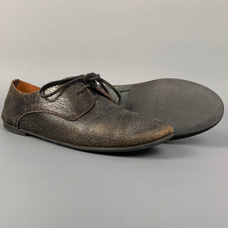 Black MARSELL Size 7.5 Dark Brown Cracked Leather Flat Laces For Sale